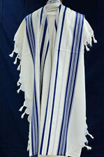TRADITIONAL WOOL TALLIT WITH BLUE & SILVER STRIPES - Jewish Prayer Shawl SIZE 55