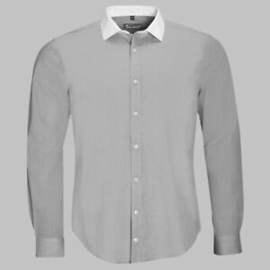 mens Grey White contrast shirt  casual office work Sols Belmont MEDIUM Designer