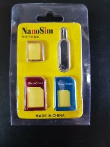 4 Piece Nano/Micro/Standard Sim Adaptor kit for all phones