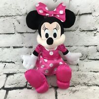 Disney Minnie Mouse Plush Pink Polka Dot Dress And Bow Stuffed Animal Toy Kcare