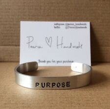 PURPOSE Justin Bieber Inspired Handmade Aluminium Cuff Bracelet Hand Stamped