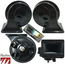 HARFON Universal Loud 12V Black Snail Electric Air Horn Set Kit High 510 Low 410