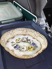 """Rare 12 1/2"""" Reticulated Pairpoint Limoges Bowl"""