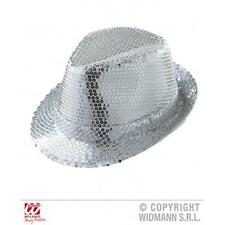 ARGENTO Paillettes Fedora Cappello MICHAEL JACKSON FANCY DRESS COSTUME ACCESSORIO