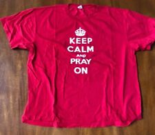 Men's Red LAT Size XL Cotton T-Shirt Keep Calm and Pray On