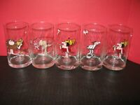 Collection of 5 Glass Cups Arby's B.C.  Ice Age