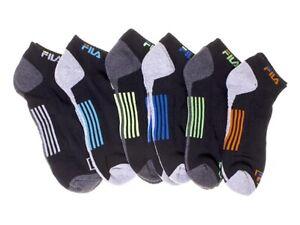 FILA Men's Socks 6 Pack Quarter Crew Grey Neon Lime Blue Orange Cushion Athletic
