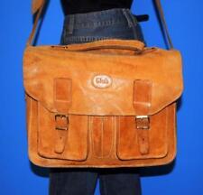Vintage Tan Brown Leather Larger Messenger Flap Shoulder Crossbody Bag Purse