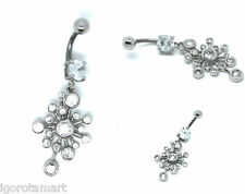 Dangle Button Belly Bar Body Piercing Lady's Peacock Solid 925 Silver Navel
