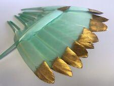 Bulk 10 x 10-15cm GOLD Tip Mint Green Goose Feathers DIY Craft Wedding Cake