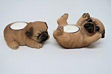 Tea light candle holders pug statue