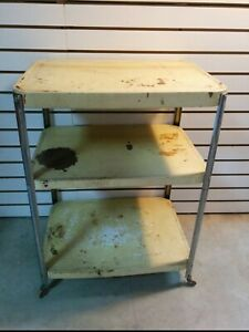 VINTAGE 3 TIER ROLLING KITCHEN CART WITH WOODEN WHEELS, YELLOW/CHROME