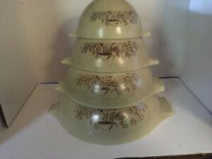 Vintage PYREX Forest Fancies Mushroom Cinderella Nesting Mixing Bowls Set of 4