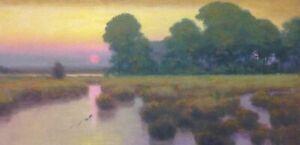 American Eden Pastoral Oil Painting Landscape Signed Art Original Snake Realism