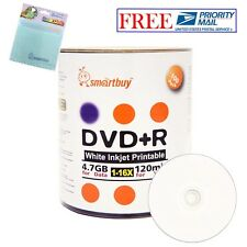 100 Smartbuy 16X DVD+R 4.7GB White Inkjet Printable Disc +FREE Micro Fiber Cloth