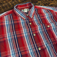 Duluth Trading Red Blue Plaid Button Down Short Sleeve Shirt Mens Large