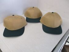 """LOT OF 3 NEW-VINTAGE-""""COYOTE"""" BROWN CAPS/HATS-DARK GREEN BILL& BUTTON-GEORG[A178"""