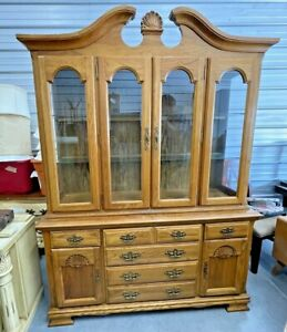 Vintage Broyhill Furniture Premier Collection Solid Maple Lighted China Hutch
