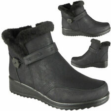 Womens Fur Lining Winter Ladies Ankle Low Heel Flat Warm Snow Boots Shoes Size