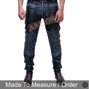 Men's Real Distressed Leather Bikers Pants Quilted Panels Vintage Pants