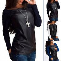 Womens Casual Long Sleeve PU Leather Raglan T Shirt Crew Neck Tee Tops T-shirts