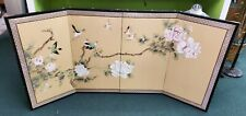 "Vintage Asian Silk Screen 4 Panel Hand Painted 70"" x 35"""""