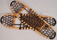 "Vintage Vermont TUBBS Wooden Snowshoes 10"" x 36"" w/ Synthetic Webbing"