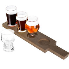 Variety Craft Beer Tasting Flight Set with 4 Glasses & Wood Paddle Serving Tray