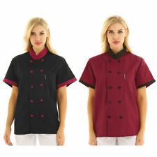 Us Womens Short Sleeve Hotel Kitchen Chef Coat Mandarin Collar Jacket Uniform