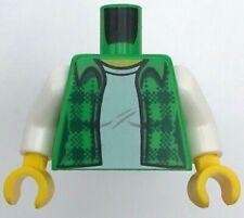 Lego New Bright Green Minifig Torso Plaid Flannel Shirt White T-Shirt Pattern