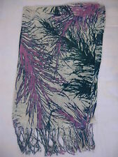 New Leaves Design Shwal Scarf  Wrap Purple & Green  170cm x 68cm