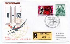 FFC 1973 Swissair First Flight DC 8 62 Wien Bangkok REGISTERED R. Osterreich