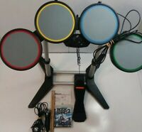 PS2/PS3 Rock Band Set Bundle Drums Mic & Foot Pedal Working Good Tested