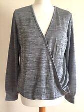 Women Vero Moda Blouse Front Crossover V Neck Loose Top Grey Long Sleeve 50%Off