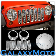 Chrome Headlight+Front Mesh Grille+Gas w/Magnet Cover fit 07-17 Jeep Wrangler JK