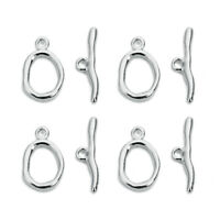 5sets 14K White Gold Plated Copper Toggle Clasps Diy Jewelry Bracelet Connectors