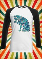 Floral Cat Kitten Meow Cute Men Women Long Short Sleeve Baseball T Shirt 1032