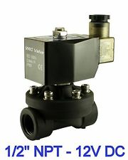 "1/2"" Inch Plastic Air Water Zero Differential Electric Solenoid Valve NC 12V DC"