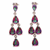 EXQUISITE MYSTIC TOPAZ 5 STONE SILVER DROP EARRINGS  925 SILVER   40 X 12 mm