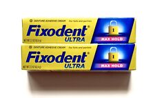 Fixodent Ultra Max Hold DenTURE  Adhesive Cream pack of Two (2.2 oz.EACH)
