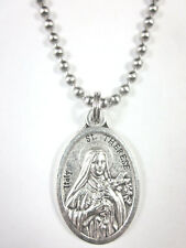 "St Therese of Lisieux Medal Pendant Necklace 24"" Ball Chain Gift Box Prayer Card"