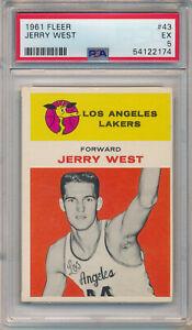 1961 FLEER #43 JERRY WEST ROOKIE - PSA 5 EX (SVSC)