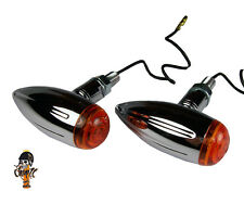 Chrome Bullet Motorcycle Turn Signal in Old School Style For Bobber Chopper Cafe Racer