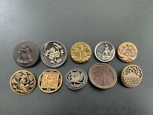 Lot of (10) Antique Vintage Metal Picture Buttons - BUTTON AUCTION #7