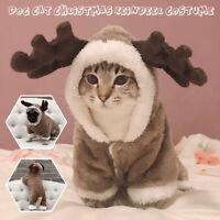 Haustier Welpe Katze Kostüm Weihnachten Kleidung Santa Clauscoat Kapuze Werken