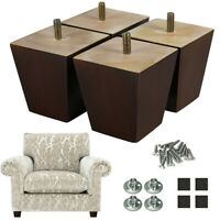 4x Wood Sofa Legs 3 in Couch Legs Square for Furniture Chair Bed Recliner