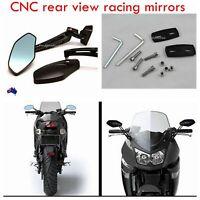 Black Aluminum Rear view Side Mirrors Motorcycle Sport Street Bike Custom Racing