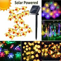 Solar Powered Xmas LED Fairy String Light Outdoor Garden Lawn Party Decor Lights