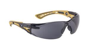 Bolle Rush Plus Safety Glasses Black/Yellow Temples Smoke Anti-Fog Lens 40244