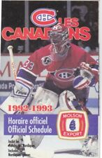 1992-93 MONTREAL CANADIENS HOCKEY POCKET SCHEDULE - FRENCH AND ENGLISH